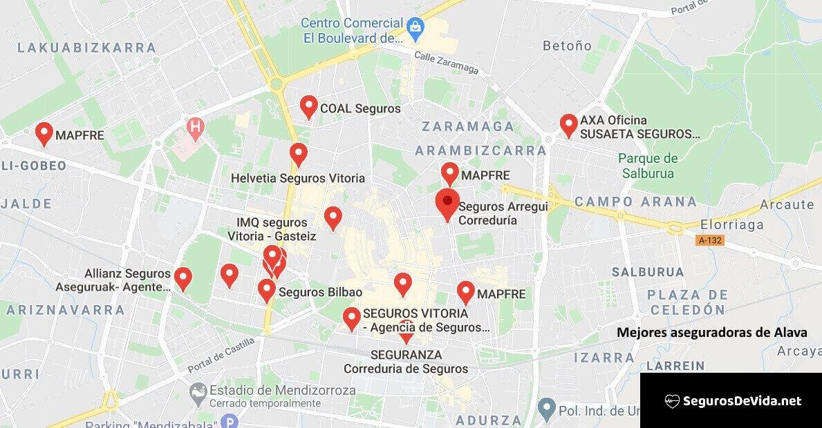 Mapa mejores aseguradoras en Álava