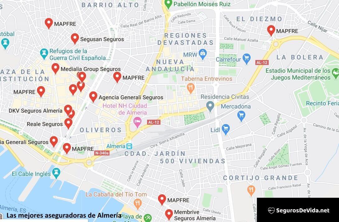 Mapa mejores aseguradoras en Almería