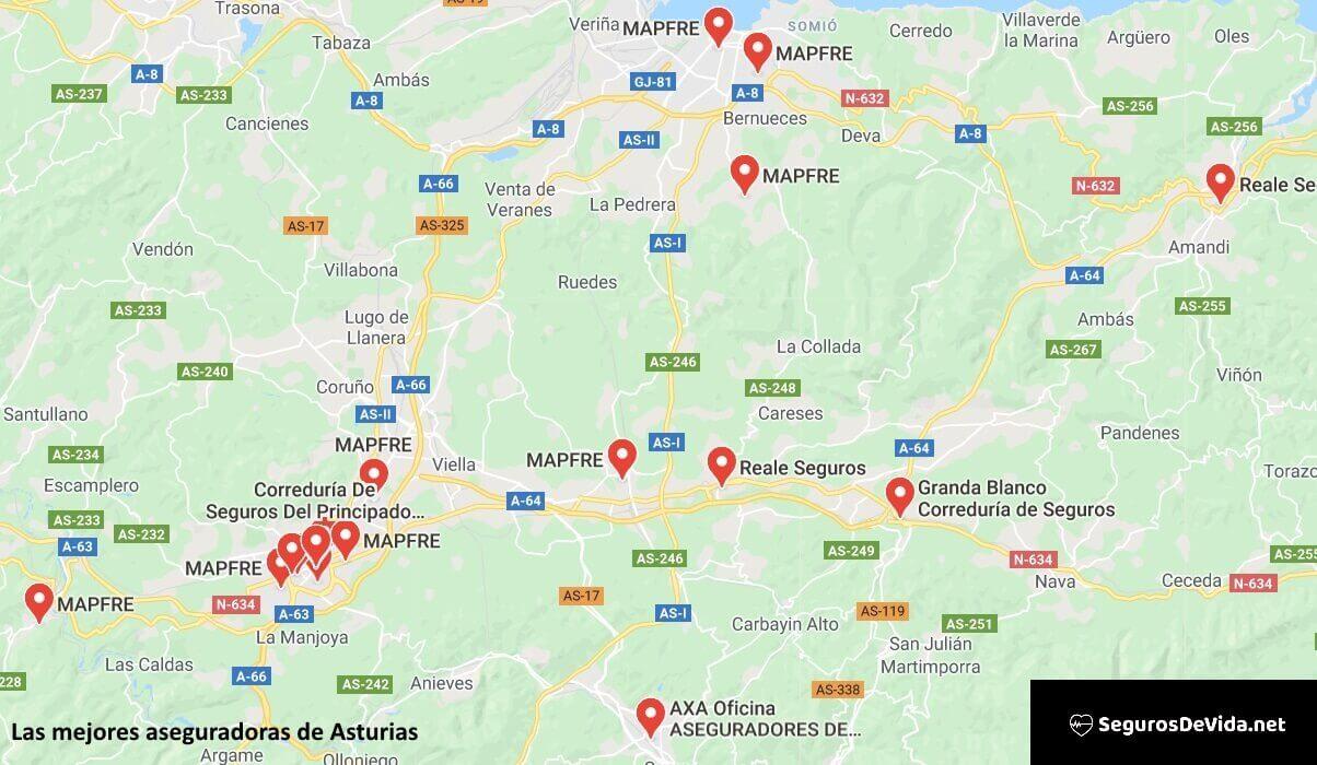 Mapa mejores aseguradoras en Asturias