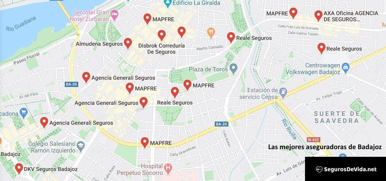 Mapa mejores aseguradoras en Badajoz