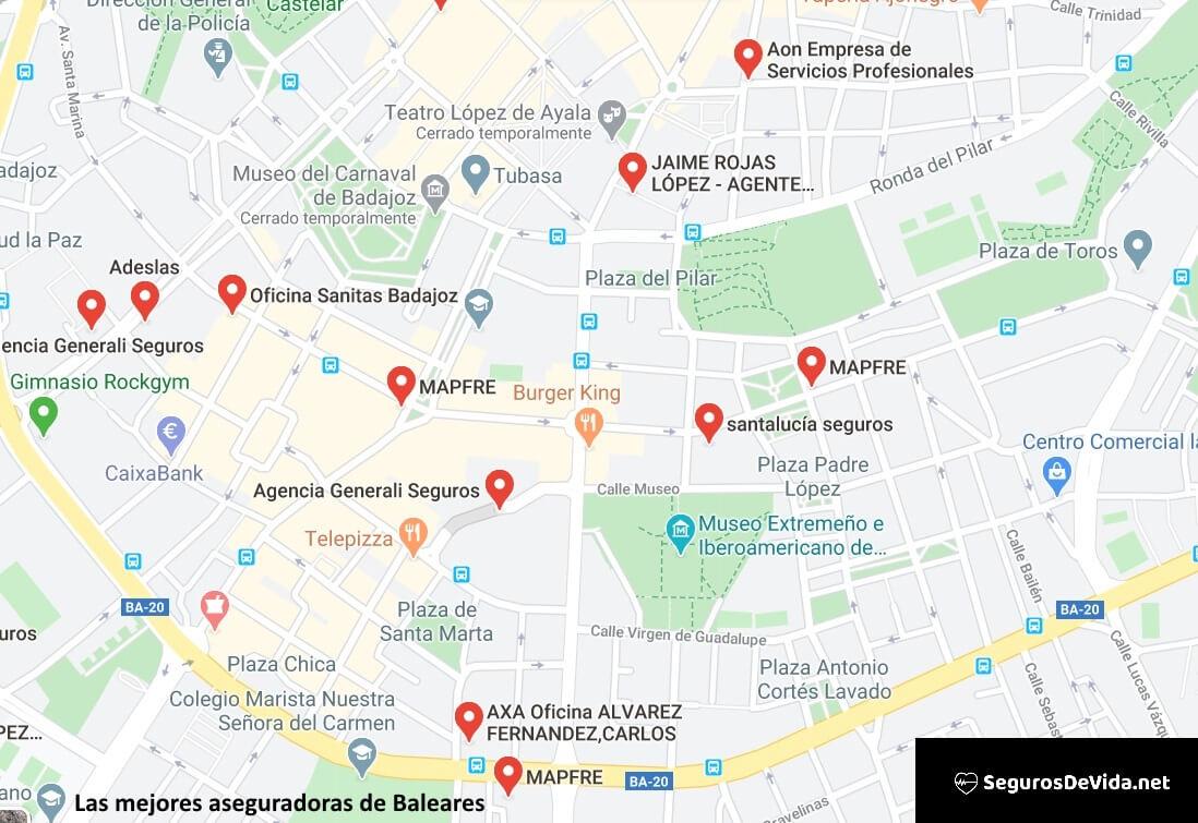 Mapa mejores aseguradoras en Baleares