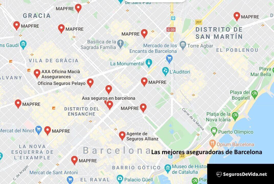 Mapa mejores aseguradoras en Barcelona