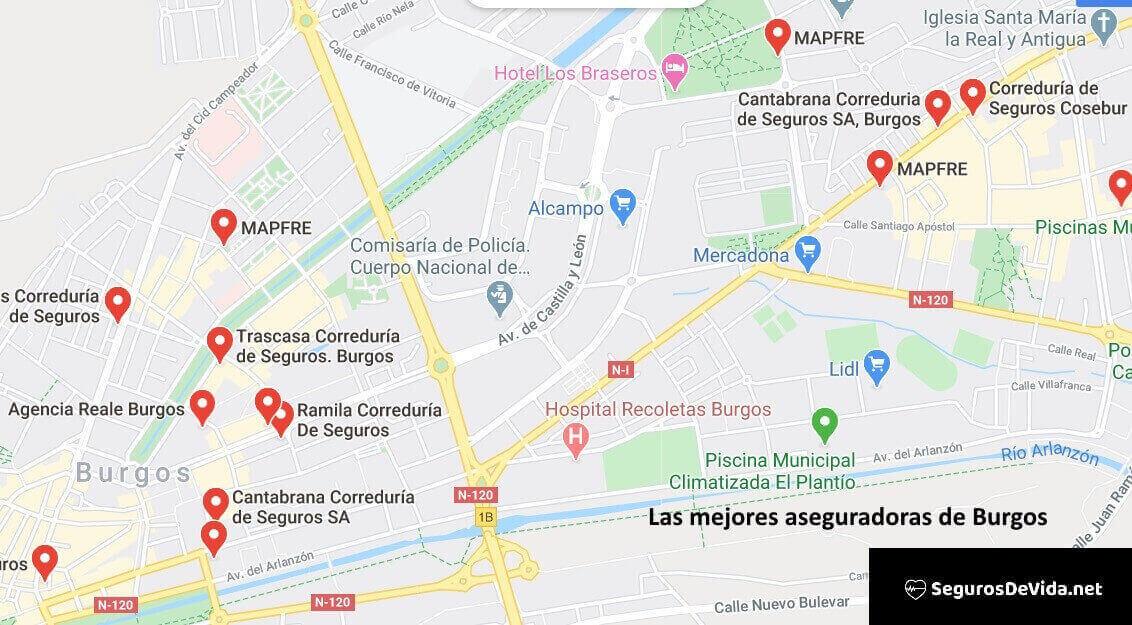 Mapa mejores aseguradoras en Burgos