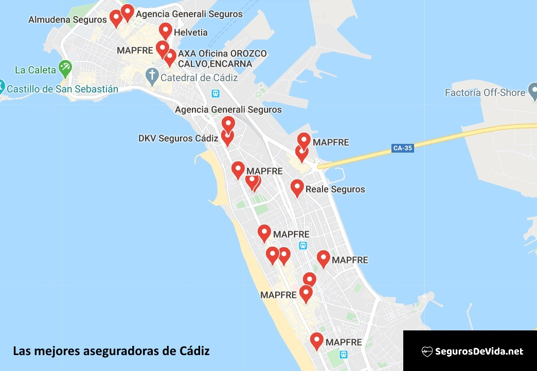 Mapa mejores aseguradoras en Cádiz