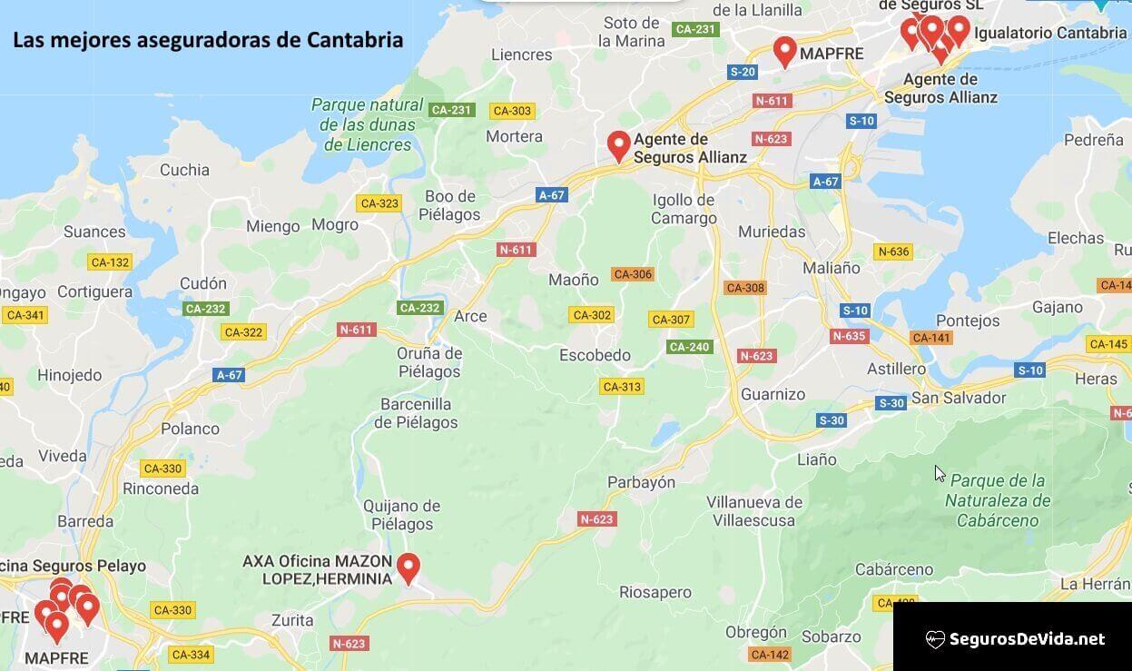 Mapa mejores aseguradoras en Cantabria