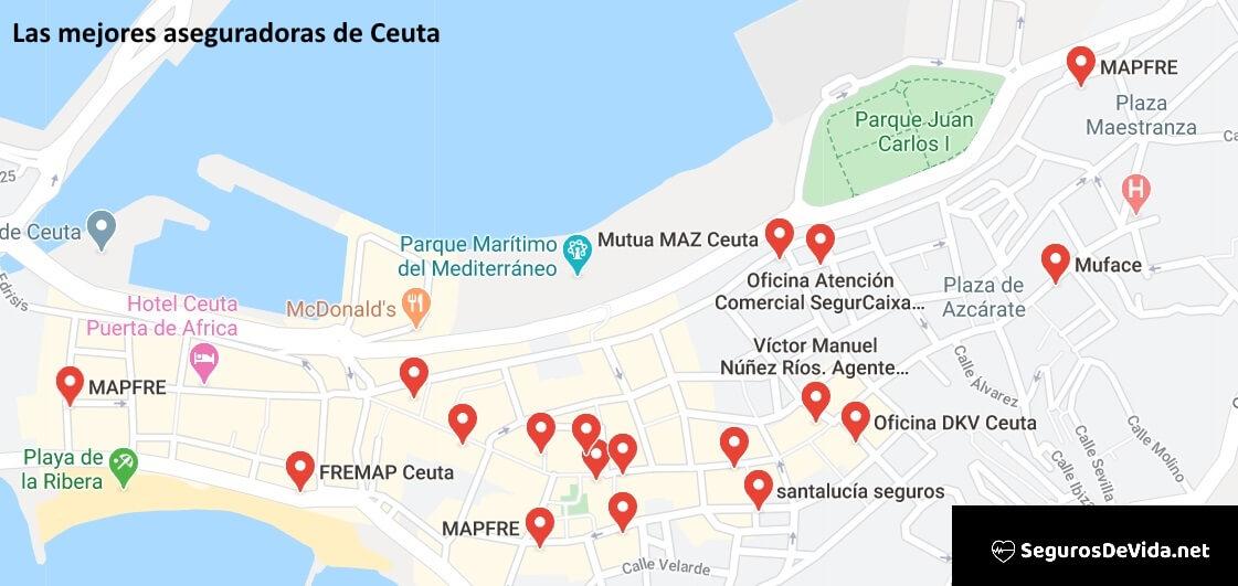 Mapa mejores aseguradoras en Ceuta