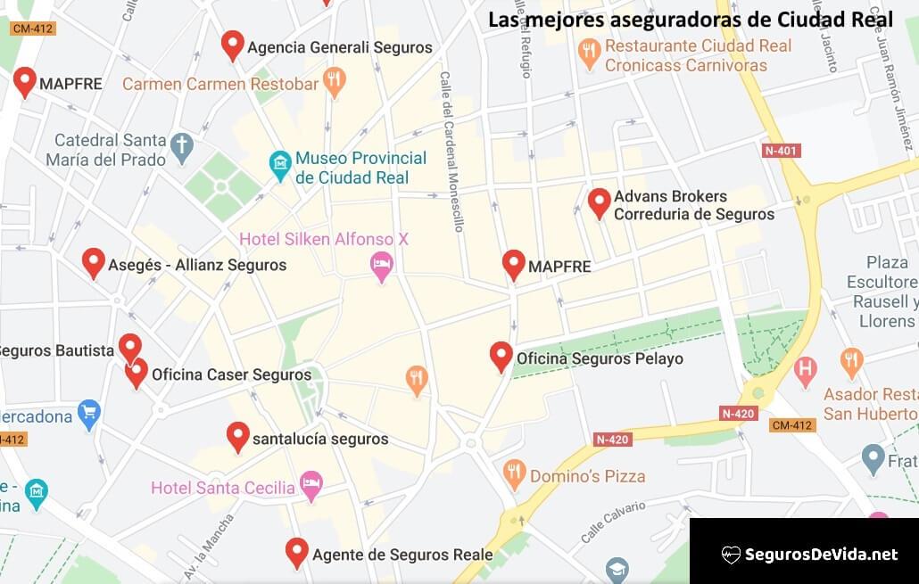 Mapa mejores aseguradoras en Ciudad Real