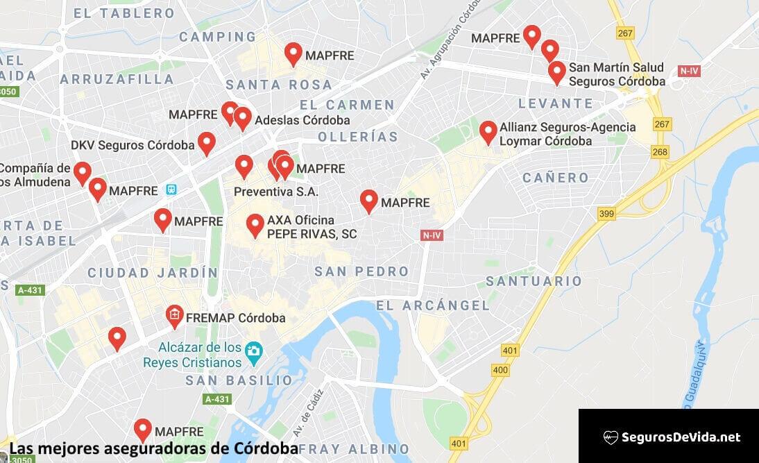 Mapa mejores aseguradoras en Córdoba