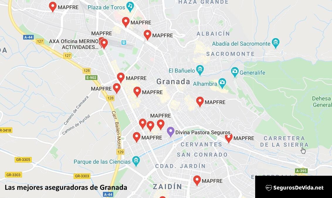 Mapa mejores aseguradoras en Granada