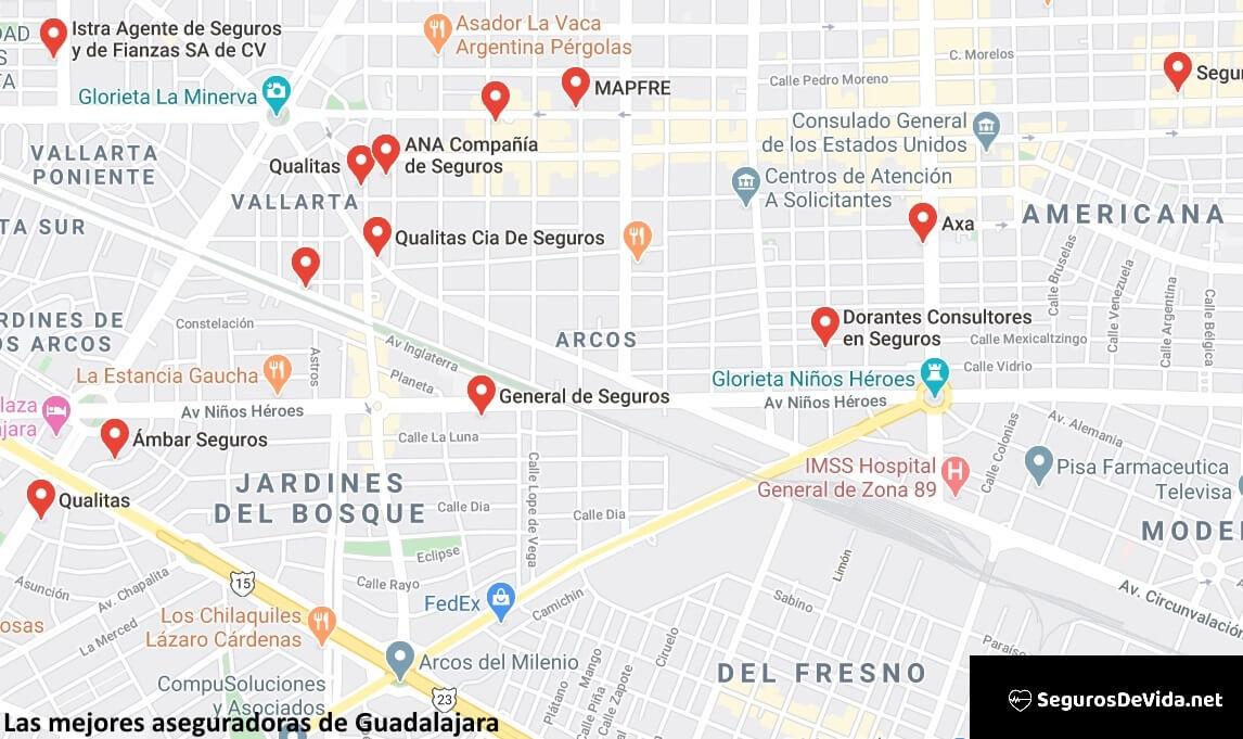 Mapa mejores aseguradoras en Guadalajara