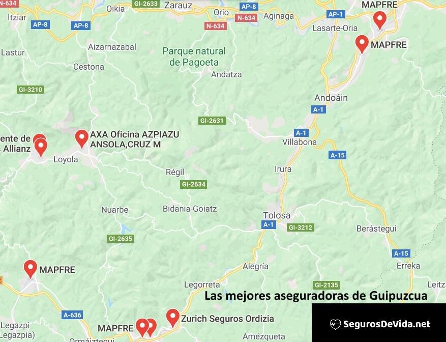 Mapa mejores aseguradoras en Guipuzcoa