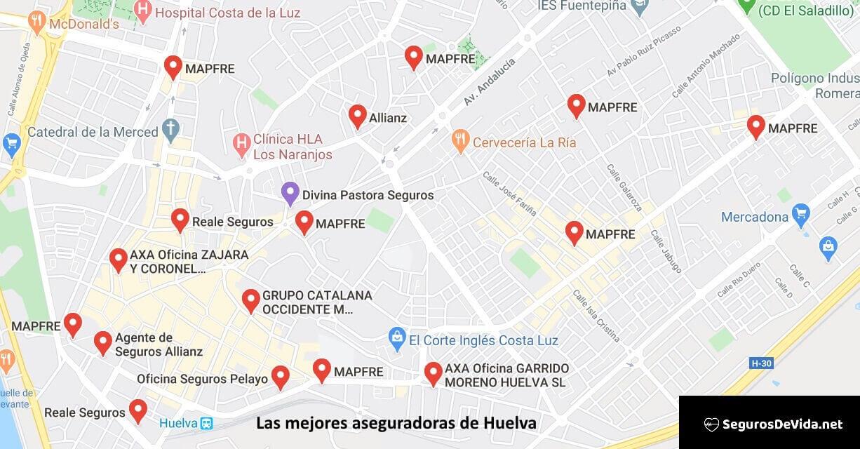 Mapa mejores aseguradoras en Huelva