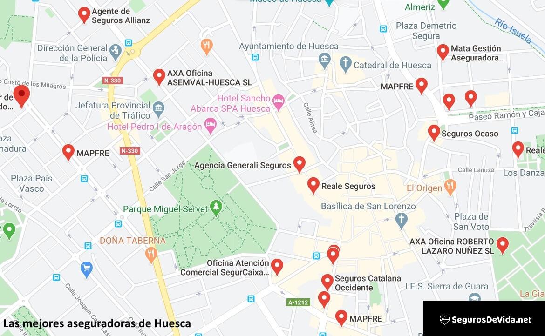 Mapa mejores aseguradoras en Huesca