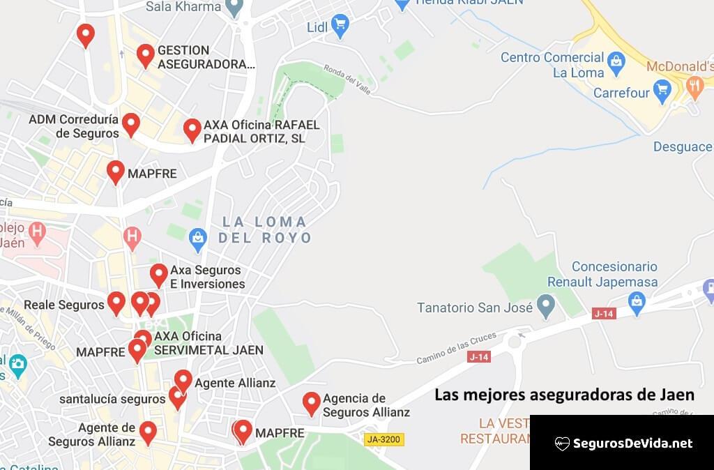 Mapa mejores aseguradoras en Jaén