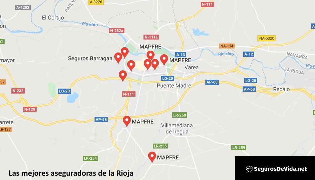 Mapa mejores aseguradoras en Rioja