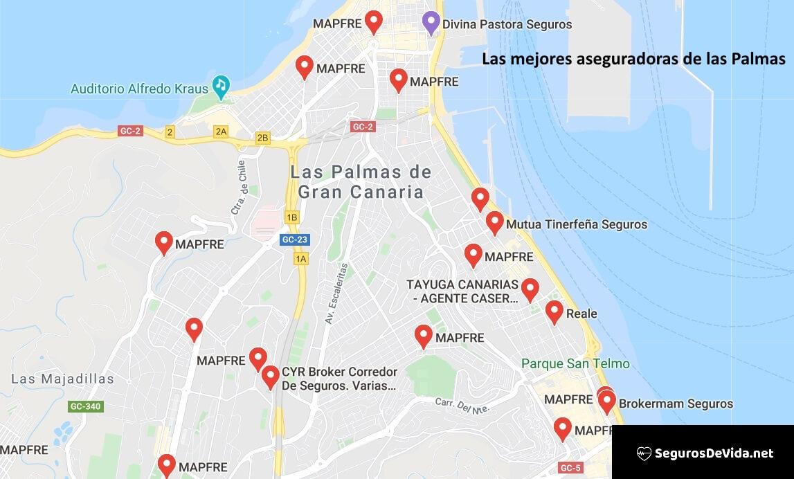 Mapa mejores aseguradoras en las Palmas