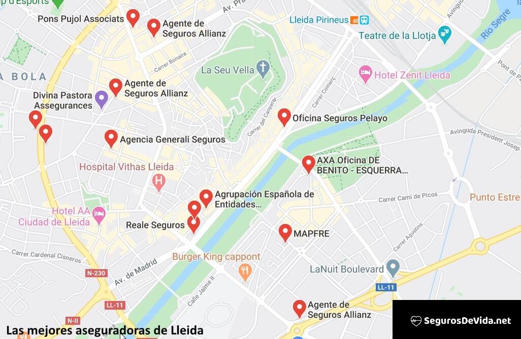 Mapa mejores aseguradoras en Lleida