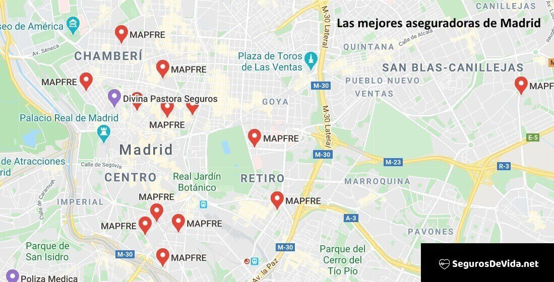 Mapa mejores aseguradoras en Madrid