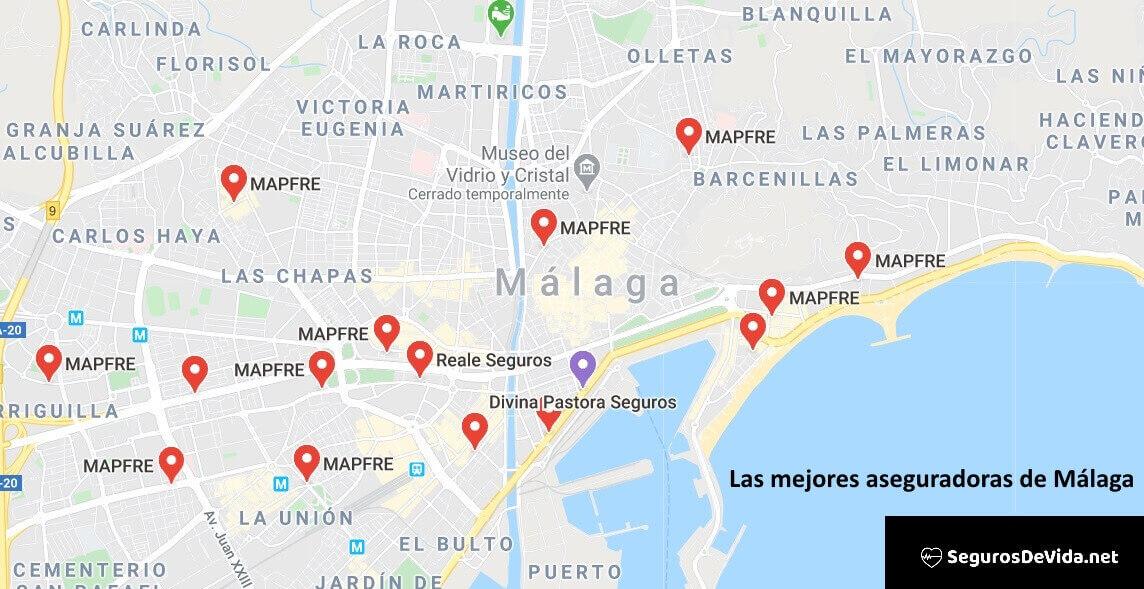 Mapa mejores aseguradoras en Málaga