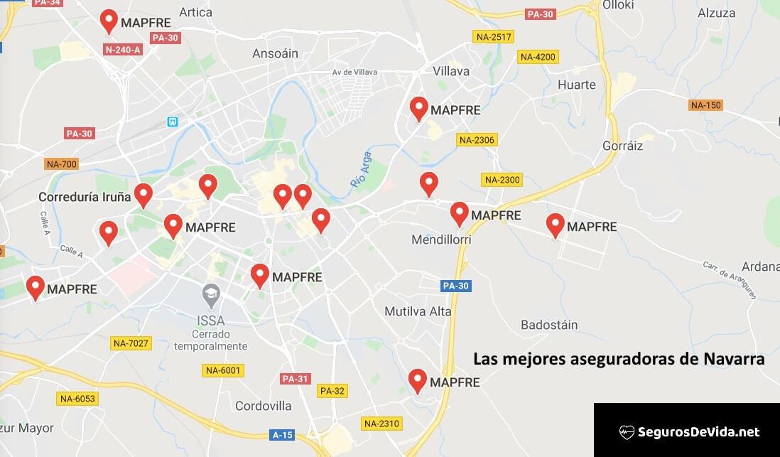 Mapa mejores aseguradoras en Navarra