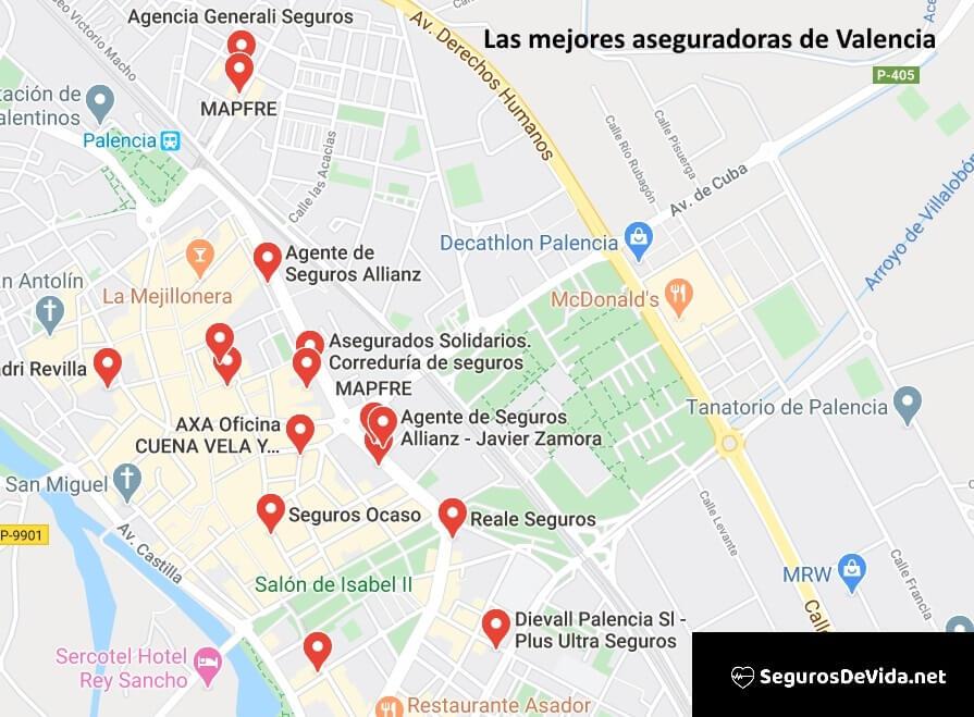 Mapa mejores aseguradoras en Palencia