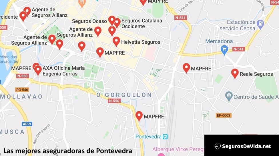 Mapa mejores aseguradoras en Pontevedra