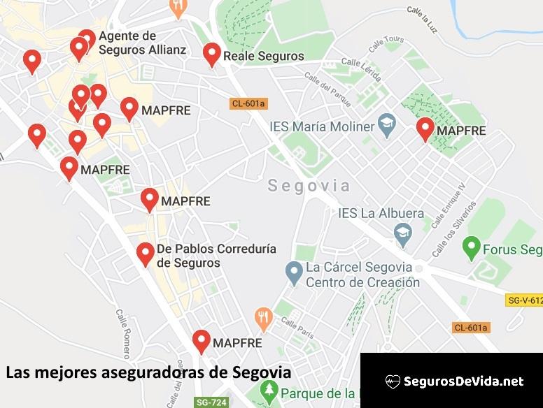 Mapa mejores aseguradoras en Segovia