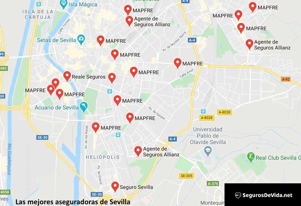 Mapa mejores aseguradoras en Sevilla