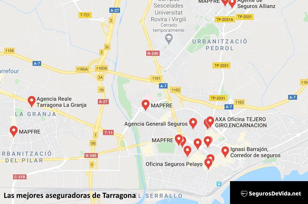 Mapa mejores aseguradoras en Tarragona