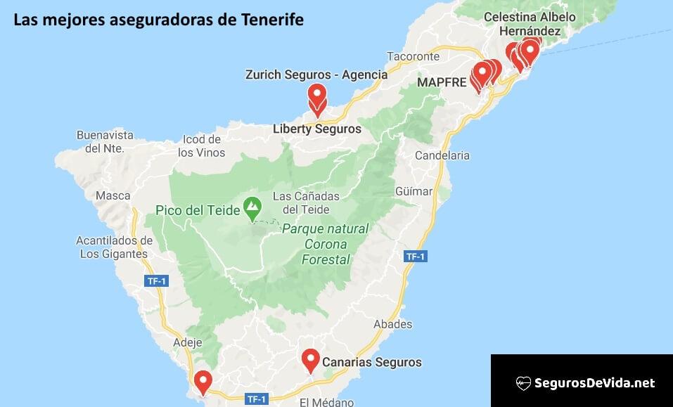 Mapa mejores aseguradoras en Tenerife