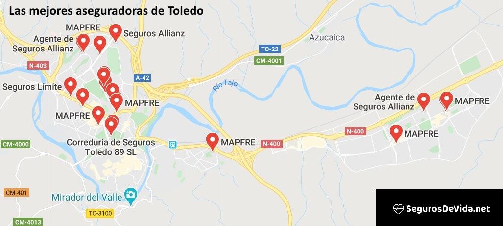 Mapa mejores aseguradoras en Toledo