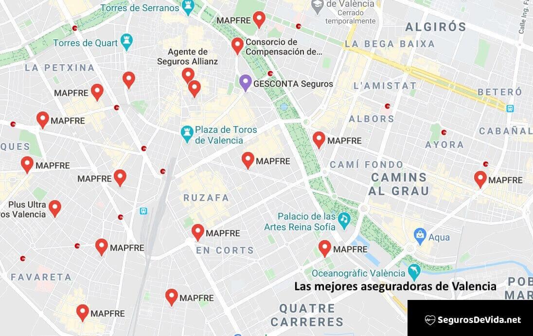 Mapa mejores aseguradoras en Valencia