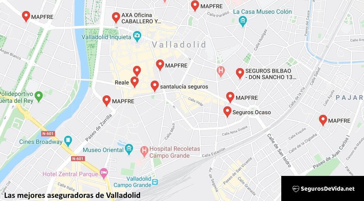 Mapa mejores aseguradoras en Valladolid