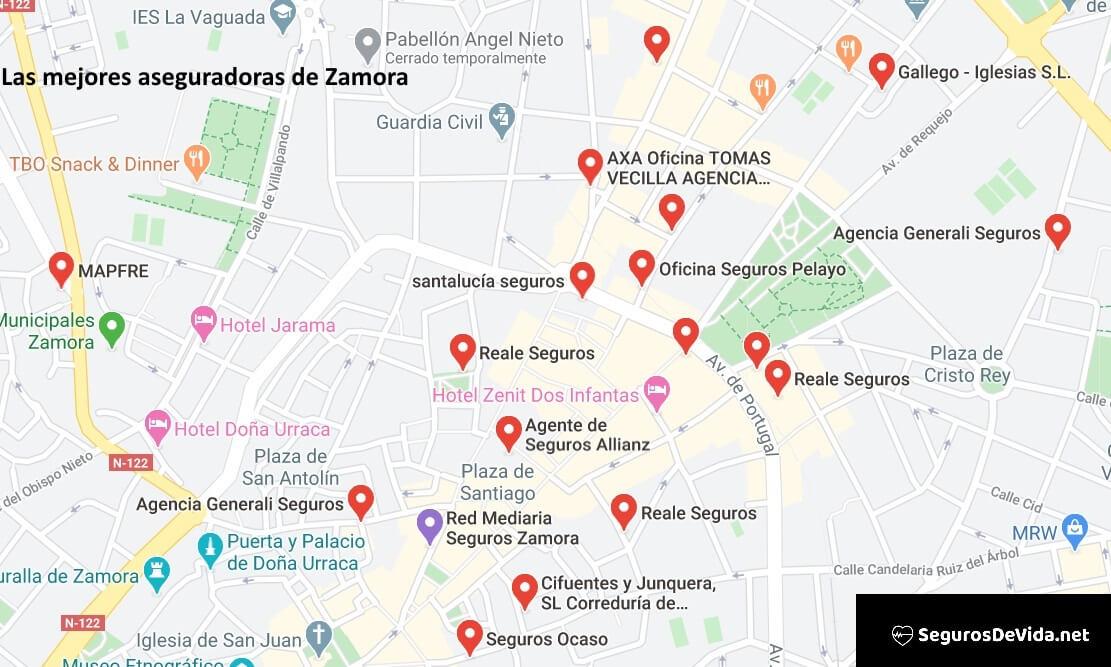 Mapa mejores aseguradoras en Zamora