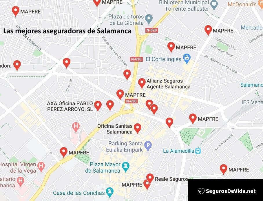 Mapa mejores aseguradoras en Salamanca